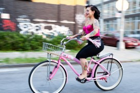 Sheryl Bitch Cakes and her Hello Kitty cruiser bike