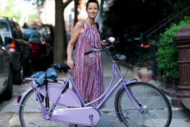BikeNYC Portrait of Lotta and her Gazelle Dutch Bike in Park Slope Brooklyn