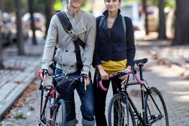 genevieve and clayton bike portrait in fort greene