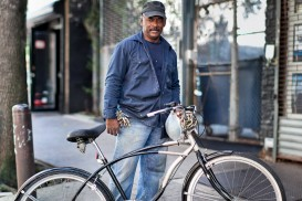 bicycle portrait of julio on the lower east side