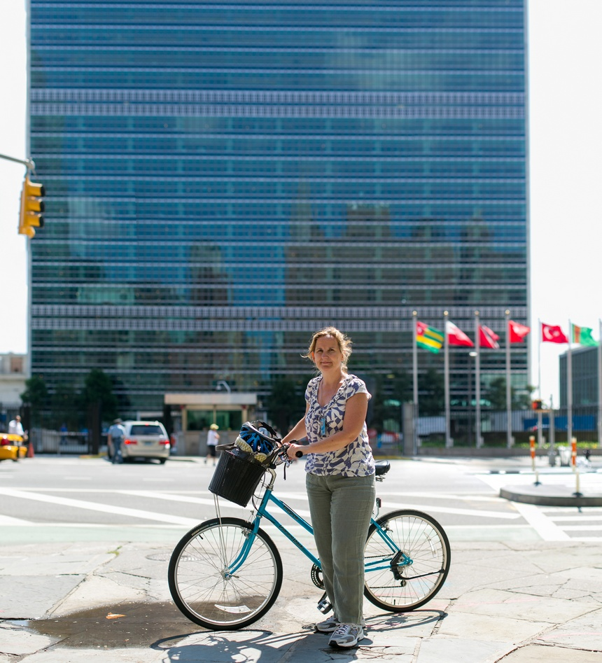 bike portrait of Mary at the United Nations